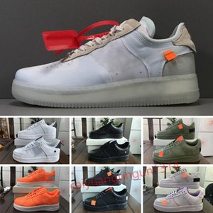OFF White x Nike Air Force 1 OW 2020 Nouvelle à bas MCA Blanc Orange Hommes Femmes Flyine Chaussures de course One Off Juste orange chaussures skate-board Sport Formateurs 36-46 C1