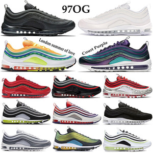 Popular 97OG Mren Women Running Shoes triple white black Cushion Sneakers gradient fade neon seoul Leopard Pack Red japan OG Trainers