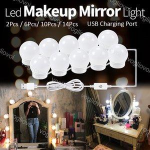 أضواء الغرور ثلاثة اللون 4000-5000K اللمس عكس الضوء مرآة ماكياج أدى ضوء usb 5 فولت هوليوود لمبة داخلي الإضاءة للاستوديو خلع الملابس طاولة نوم الحمام eub