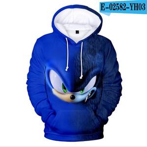 여자를위한 고슴도치 소닉 (Sonic the Hedgehog) 3D 키즈 후드 소년 소녀 땀이 셔츠 아동 보이 후드 의류 Y200831에 대한 음향 어린이 운동복