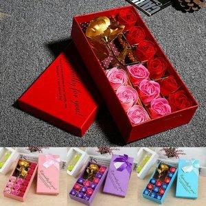 الحب 12PCS / مجموعة روز زهرة الصابون زهرة هدية زفاف رومانسية 24K الذهب احباط جديد