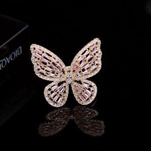 Korean new fashion luxury zircon ring jewelry temperament women shine zircon hollow butterfly open ring brand high-quality ring accessories