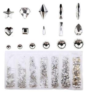 멀티 스타일 유리 네일 라인 스톤 혼합 색상 AB 매니큐어 아트 네일 합금 진주 3D 매력 DIY 장식 캐비어 크리스탈 X5N9