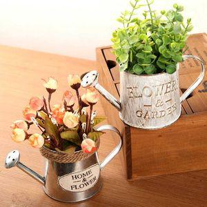 Vintage Metal Handicraft Watering Flower Arrangement Home Decor Succulents Plant Flowers Pot Bucket Flower Vase Garden Decor hot