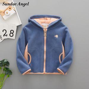 Sundae Angel Boys Polar Fleece Jacket Kids Hooded Long Sleeve Autumn Girl Child Coat Embroidery Warm Children Outerwear Clothes