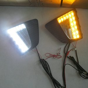 1 Pair LED DRL For Creta IX25 2014 2020 2020 LED Daytime Running Light fog DRL with yellow turning signal lamp