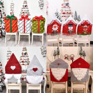 Noel Sandalye Kapak Noel Baba Noel Red Hat Sandalyeler Geri Akşam Sandalye Cap Noel Ev Partisi Dekorasyon DHD762 Kapaklar