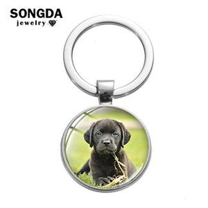 SONGDA Pet Dog Keychain Lovely Animal Jewelry Family Gift Labrador Border Collie Pug Pomeranian Art Picture Glass Dome Key Chain