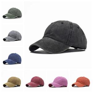 Lavado boné de beisebol Pure Cotton Sólidos Casual Rua Cor Snapback Cap Adultos Crianças ajustável Moda Protetor solar Sun Hat VT1602