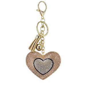 Christmas Bear Heart Keychain Leather Tassel Gold Key Holder Metal Crystal Key Chain ring Bag Auto Pendant Gift Shipping