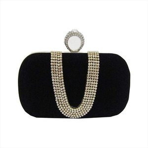 Evening Bags Suede Velvet Rhinestone Stud One Ring Decor Evening Cocktail Clutch Bag Drop Shipping Good Quality