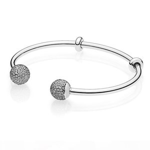 925 Sterling Silver Open Bangle Bracelet for Women Signature Clasp Clear CZ fit Bead Charm Pendant