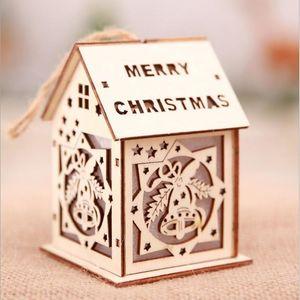 LED 빛 나무 크리스마스 하우스 주택 발광 아름다운 파티는 나무 집 장식 홈 실내 장식품을 매달려