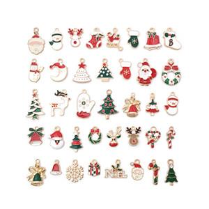 38PCS Weihnachts Charme-Anhänger Emaille-Charme Schneemann Weihnachtsmann Elk Bell-Ohrringe Zubehör Ornament Charm für handgemachte Schmuckherstellung