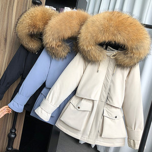 Ailegogo Yeni Doğal Rakun Kürk Kapşonlu Kış Down Coat Kadınlar% 90 Beyaz Ördek Aşağı Ceket Kalın Sıcak Parkas Kadın Dış Giyim