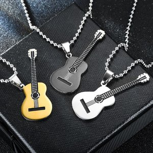 Stainless steel Music guitar Necklace Guitar Pendant Women mens necklaces Black gold hip hop fashion jewelry will and sandy gift