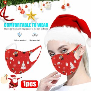 Christmas Print Mask For Face Women Ice Silk Fabric Mask Washable Reusable Face Covering Halloween Cosplay Mascarilla Maske