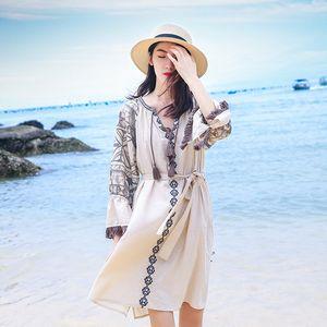 2020 estilo nacional retro del nuevo del verano ronda de cuello de vestir de manga Lantern Midi falda floja F257