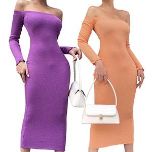 Women Dresses Autumn Bodycon Dress Ladies Off Shoulder Dresses Sexy Long Sleeve Maxi Female Party Dress Knit Casual Dresses 050927