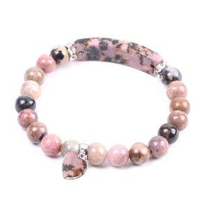 Trendy Natural pedra vermelha Amor pulseira coração Retângulo Pedras Pulseiras mulher rosa Cor mulheres pulseiras elásticas Lace-Up