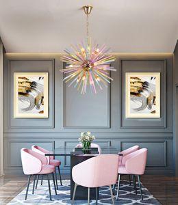 Nordic bar  LED crystal chandelier modern children's room clothing store color decoration restaurant chandelier lighting