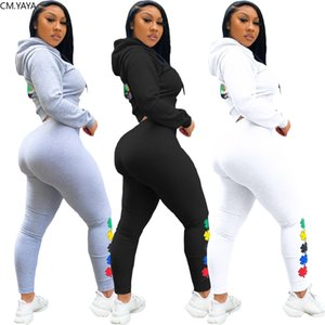 CM.YAYA Sport Floral Print Women Two Piece Set Hooded Jackets Skinny Sweatpants Jogger Suit Tracksuit Matching Set Outfits X0924