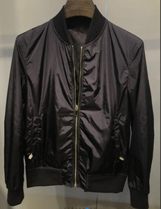 20FW Herbst Winter neueste Art und Weise hochwertige Jacke Leder Hülse Brief Hoodie hochwertige doppelseitige Stehkragen Jacke dünnt Windbr