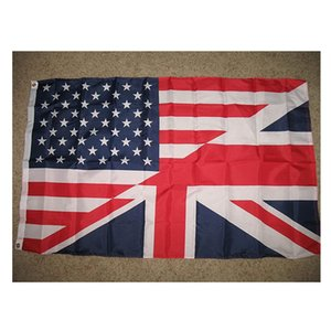 Usa American Great Britain British Flag Us Uk Friendship Flag Polyester Club Team Sports Indoor With 2 Brass Grommets,Free Shipping