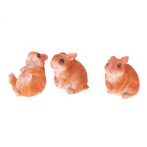 3 Pieces Home Garden Yard Rabbit Figure for Terrarium DIY Dollhouse Decor Xmas Gift