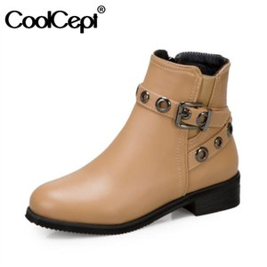 CoolCept Women Ankle Boots Shoes Round Toe Thick Heel Zipper Rivets Punk Style Cool Boots Ladies Footwear Plus Size 32-43