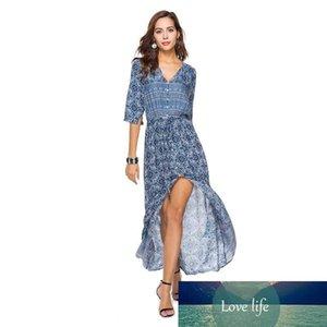 Women Long Dresses Bohemia Printing Beach Skirt Sexy V Collar Button Half Sleeve Belt Open Dresses Mid Waist 6