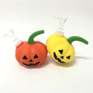 Nuova Pumpkin-Shape narghilè del tubo dell'acqua del fumo di vetro Bong Bong Halloween Shisha Pipe con la ciotola di vetro vs Twisty Glass Blunt Bowl