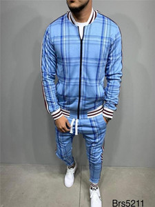 Yeni Eşofman Erkekler Sportsuits Beyler Seti Fermuar Fullset ceket takım elbise Seti Uzun Kollu şerit Coat Pantolon Spor Salonları Casual Erkek Takımları
