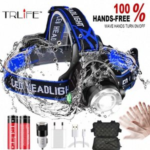 8000LM IR Sensor LED Headlamp Fishing Lamp Super Bright Zoom LED Headlight Use T6 L2 V6 Lamp Beads Powered By 18650 Battery YAiF#