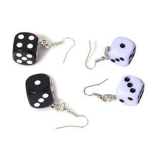 Funny Dice Dangle Earrings Acrylic White Cube 3D Cubic Dice Charm Drop Earrings Black& White