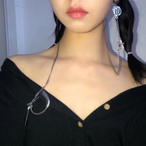 cCJfF fresco e collana ragazza tutto-fiammifero speciali a forma di orecchini lettera all-in-one orecchini orecchini collana per le donne