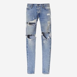 18ss Fear of God Denim Pants FOG Ripped Jeans Print Mens Jeans Fashion Skinny Pants Zipper Fly Trousers Letters Casual Jeans HFTTKZ036 t03