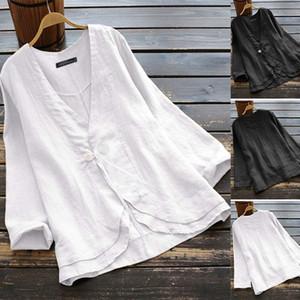 2020 V Neck Button Cardigan ZANZEA Women's Blouse Cotton Shirts Work Office Lady Tunic Tops Chemise Oversized Blusas Femininas