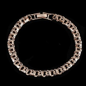 Bismark Bracelet New 585 Rose Gold Color Jewelry A Form of Weaving Long 7MM Wide Hand Catenary Gold Color Bracelet Men and Women