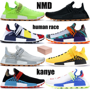 Com caixa de raça NMD Humano Pharrell Williams BBC saber alma infinitas espécies respiração embora Oreo mens HU Hue correndo sapatos femininos Sneakers