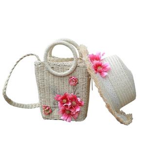 여성 비치 가방 2020 패션 꽃 여름 밀짚 어깨 메신저 가방 수제 직물 등나무 핸드백 휴일 밀짚 모자