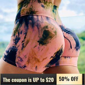 Short Leggings Workout Shorts Womens Summer High Waist Fitness Pants Quick-drying Running Tights Printed Hip Female Yoga Shorts