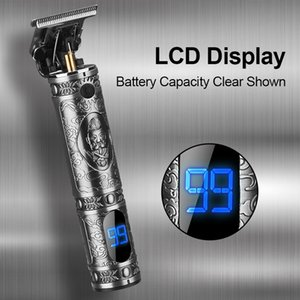LCD Display Hair-Trimmer Blade Electric Hair Clipper Shaver Trimmer Cordless Shaver Trimmer 0mm Men Barber Hair Cutting Machine