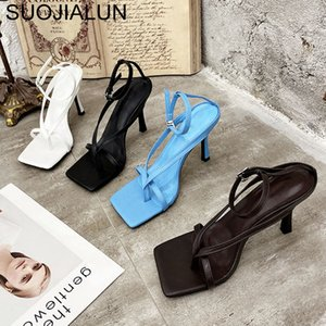 SUOJIALUN Gladiator Sandals High Heels Sandal Shoes Fashion Brand Strap Flip Flops Sexy Thin High Heel Pumps Square Toe Shoes 200921
