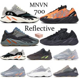 새로운 700 MNVN 카니 예 웨스트 (Kanye West) 웨이브 러너 오렌지 포스 뼈 반사는 V1 V2 솔리드 그레이 카본 블루 Vanta를 남성 여성 운동화 신발을 실행