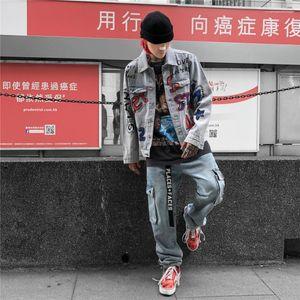 Estilo Moda manga comprida Mão Casual pintado roupa Hommes Vestuário Mens Outono Graffiti Jean Jackets Rua