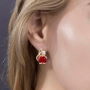 Red Stone Studs Earrings for Women Girls 585 Rose Gold Gem stone Fire Shaped Inlay Clear Cubic Zirconia Ear Jewelry
