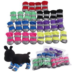 애완 동물 개 신발에게 테디 비숑 애완 동물 DHC1043 안전 반사 스트라이프 부드러운 신발 밑창 편안 개 의류와 소프트 부츠를 환기