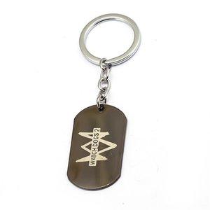 Watch Dogs 2 Keychain Metal Dog Tag Key Ring Holder Chain Metal Pendant Porte Clef Chaveiro Souvenir Beads Choker Women Men Gift