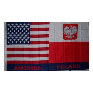 USA and Poland Friendship Flag 150x90cm 3x5ft Printing Polyester Club Team Sports Indoor With 2 Brass Grommets,Free Shipping